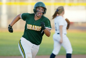 Ironwood Ridge Vs Canyon Del Oro Softball: Dorado sophomore Samantha Nettling makes a dash to third base in the second inning.  - Randy Metcalf/The Explorer