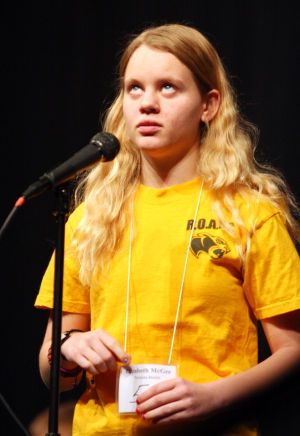 Marana Unified School District Spelling Bee: Tortolita Middle School student Elizabeth McGee thinks about the spelling of a word during the Marana Unified School District's spelling bee last week.  - Randy Metcalf/The Explorer