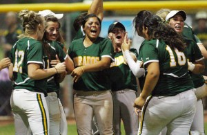 Ironwood Ridge Vs Canyon Del Oro Softball: The CDO softball team celebrates after its 11-6 win over Ironwood Ridge in the state semifinal game Friday.  - Randy Metcalf/The Explorer