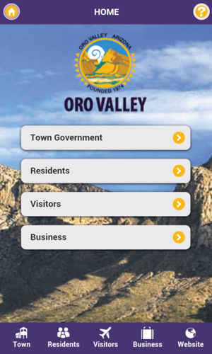 Town of Oro Valley mobile app