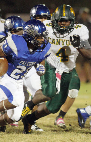 Canyon Del Oro Vs Catalina Foothills Football: John Jackson tries to run down the Catalina Foothills ball carrier. - Randy Metcalf/The Explorer