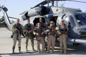 "Jeff ""Spanky"" Peterson: Jeff ÒSpankyÓ Peterson, second from right, and members of his Air Force HH-60 Pave Hawk helicopter team pose for a picture. - Photo courtesy of Jeff Peterson"