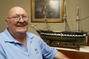Ship Builder Bill Lofquist: Northwest resident Bill Lofquist started with a box of various pieces of wood when he began constructing a model of the U.S.S. Constitution. - Randy Metcalf/The Explorer