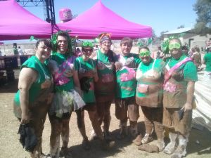 Kiss Me Dirty Race Series: Northwest residents participated in the Kiss Me Dirty mud run on March 17. From left to right, Makyla Hays, Explorer Production Manager Brandon Hays, Nicole Hale, Kimberly Mangan, Peter Mangan, Melanie Garland, and Logan Garland.  - courtesy photo