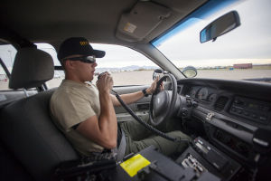 Sheriff's Academy: Danny Sharp, Jr. drives a patrol in a simulated pursuit course during the Sheriff's Department Basic Law Enforcement Training Academy.  - J.D. Fitzgerald/The Explorer