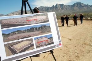 Securaplane Groundbreaking: Plans for the 55,000-square-foot facility are displayed at the Securaplane groundbreaking in Oro Valley.  - Randy Metcalf/The Explorer