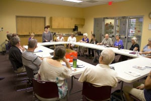 Alexis Powers: More than 20 people gather at a writer's workshop at the Oro Valley Library. Once a month writers share a small excerpt from their written work. - Hannah McLeod/The Explorer