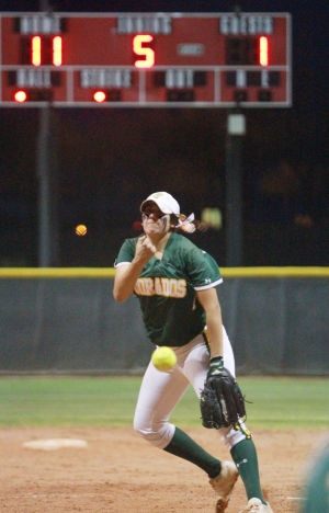 Canyon Del Oro Vs Salpointe Softball: At the top of the fifth inning, Canyon Del Oro was leading 11-1 over Salpointe as pitcher Alexis Alfonso sends the ball across the plate. The Dorados won and face Ironwood Ridge on Wednesday.  - Randy Metcalf/The Explorer