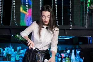 Brunette Girl Serving Martini