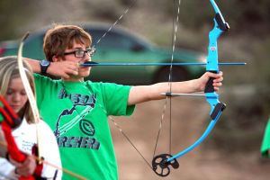 Archery Range: Danny Fapp aims his arrow down range at the Oro Valley Archery Range during the ribbon cutting ceremony one year ago. - file/Randy Metcalf