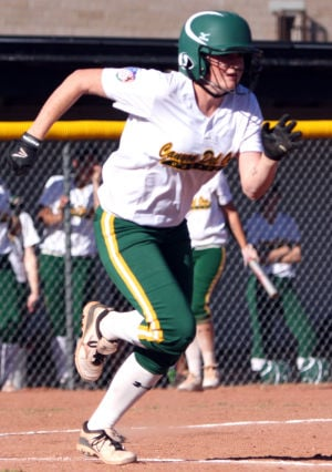 Canyon Del Oro Vs Mountain View Softball: Jordyn Binnion takes off towards first during CDO's game at Mountain View.  - Randy Metcalf/The Explorer