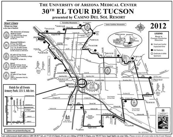 El Tour de Tucson map