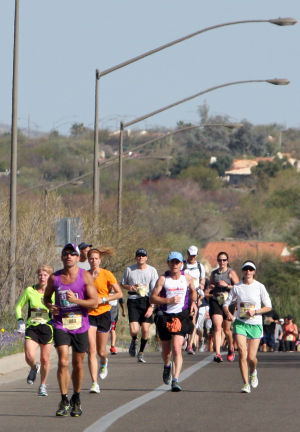 Arizona Distance Classic: Racers make their way up Rancho Vistoso Blvd. during the Arizona Distance Classic.  - Randy Metcalf/The Explorer