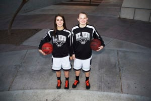 Lady Mountain Lions: Mt. View High School senior guards Melody McLaughlin and Lauren Reece.  - Hannah McCleod/The Explorer