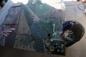 Art Dahlstrand's Mural: Splendido resident Art Dahlstrand has been working on a 12-foot by 25-foot mural that will be displayed at Tucson County Day School. - Randy Metcalf/The Explorer