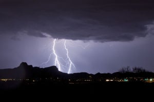 Monsoon Mayhem: One of the major attractions to the summer monsoon season is the lightning above the mountains. - Randy Metcalf/The Explorer