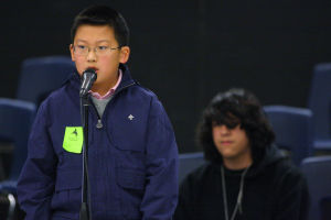 Amphitheater School District Spelling Bee: Michael Chen, a fourth-grader from Copper Creek Elementary, took first place in the Amphitheater School District's spelling bee last week. Luis Diaz, an eighth-grader at La Cima Middle School, took second.  - Randy Metcalf/The Explorer