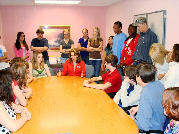 Giffords interacts with students