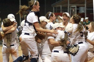 Ironwood Ridge Vs Canyon Del Oro Softball: The Ironwood Ridge High School Nighthawks react after defeating the Canyon Del Oro High School Dorados in the Division II State Championship playoff game Wednesday night 4-0. The Nighthawks advance and will play 7-seed Greenway at Rose Mofford Softball Complex in Pheonix on Friday at 5:30 p.m. The winner of that game will play for the State Championship on Monday.  - Randy Metcalf/The Explorer
