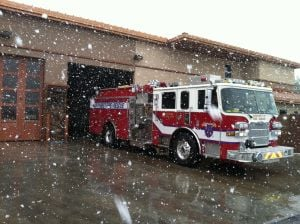 Snow Day: Plenty of snow came down at Northwest Fire District station on Ina Road.  - Photo courtesy of Northwest Fire District