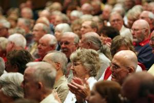 GOP senators address packed house