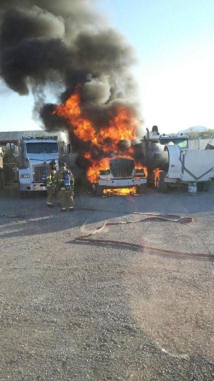 Fire destroys semi-truck