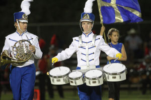 Pusch Ridge Band: Pusch Ridge Christian Academy's marching band is back on the field performing after the band went through multiple changes in directors and a lack of interest from the members. - Randy Metcalf/The Explorer