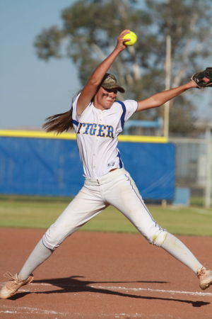 Marana Vs Desert Ridge Softball: Jordan Wengert was brought in in the last inning to finish the game.  - Randy Metcalf/The Explorer