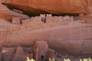 Canyon De Chelly: Detail view of White House Ruins, home to Puebloan people about 1250 years ago, showing room and wall construction as well as a petroglyph etched onto the canyon wall. - Rick Metcalf/Special to the Expl