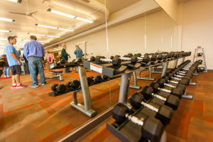 Aquatic & Fitness Center Completed In Sun City: The fitness center has a wide range of free weights in its new facility. - J.D. Fitzgerald/The Explorer