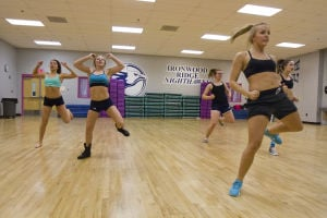 Ironwood Ridge High School Dance Team: From left to right, Kiana Riera, Madison Halliday, Dusty Reed, Ashley Yewell, and Justyne Park run through a practice routine last week. - Randy Metcalf/The Explorer