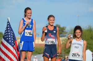 Sarah Macdonald: Sara Macdonald, stands atop the podium accepting her first place award.  - Courtesy Photo