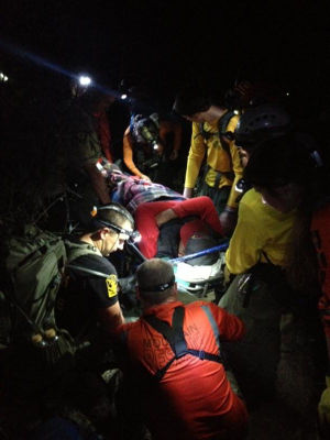 Finger Rock Trail Rescue: Emergency Medical technicians with the unit tended to and immobilized the male's injured ankle.