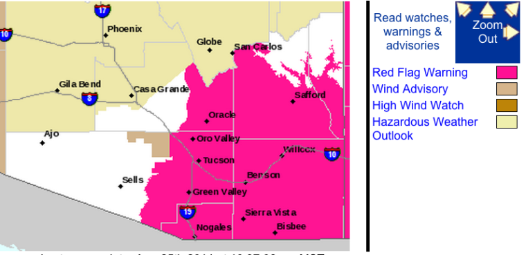 Red Flag warning issued for parts of Pima County