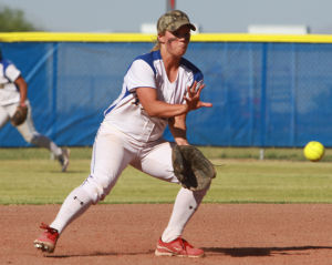Marana Vs Desert Ridge Softball: Hailey Oesterling fields a grounder at shortstop.  - Randy Metcalf/The Explorer