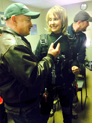 Gabby Giffords lands safely after skydiving on Jan. 8 anniversary