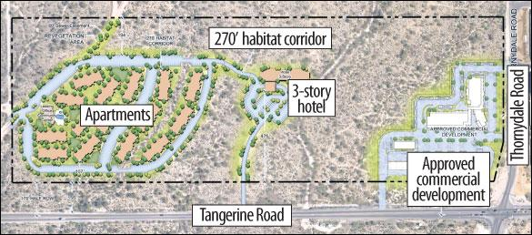 Lowered building heights, deeper setbacks in revised plan along Tangerine Road