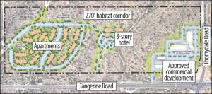 Lowered building heights, deeper setbacks in revised plan along Tangerine Road