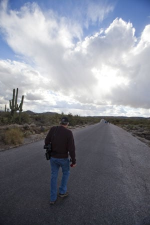 Two Miles Every Day: Closing in on his final 2-miles for 2012, Rick Metcalf heads towards the base of Sabino Canyon.  - Randy Metcalf/The Explorer
