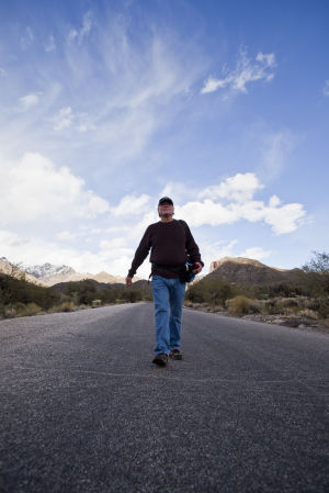 Two Miles Every Day: On Dec. 31, Rick Metcalf completed his 2012 challenge of walking at least two miles every day. He walked his last two miles at Sabino Canyon.  - Randy Metcalf/The Explorer