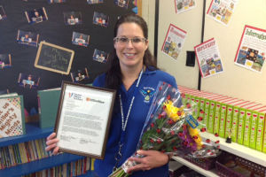 Tucson Values Teachers: Jennifer Miller, a third grade teacher at Thornydale Elementary School received the Teacher Excellence Award, which was given by Tucson Values Teachers and OfficeMax. The award is to recognize teachers who go above and beyond in their commitment to teaching and helping their students. - Hannah McLeod/The Explorer