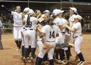 Ironwood Ridge Vs Canyon Del Oro Softball: The Ironwood Ridge High School Nighthawks react after defeating the Canyon Del Oro High School Dorados in the Division II State Championship playoff game Wednesday night 4-0.  - Randy Metcalf/The Explorer