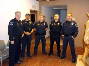 Marana Police Officers: From left to right, Marana police officers Ray Kennedy, John Pathammavong, Robert Derfus, William Dittiger and Hayden Mosher each received lifesaving awards.  - Courtesy Photo