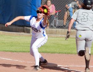 Marana Vs Desert Ridge Softball: First baseman Alex Gehr gets the out as a Desert Ridge player tries to beat the throw.  - Randy Metcalf/The Explorer