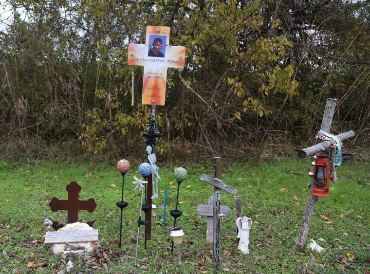 A roadside memorial pays tribute to Jourdon Moore, a 14-year-old killed on Williams Drive in 2011. His mother says better lighting and sidewalks are needed through Bellmead. Staff photo by Rod Aydelotte