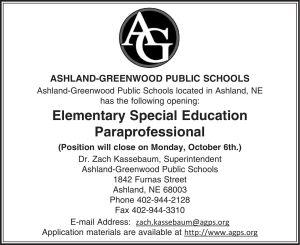 Ashland-Greenwood Schools - Elementary Education Paraprofessional