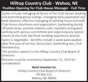 Hilltop Country Club - help wanted