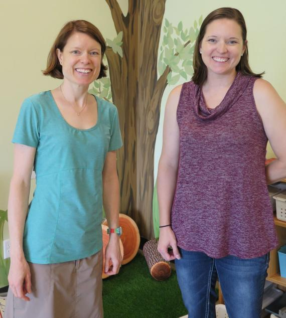 <p>Darcia Cole and Colyn Niemeyer and are teachers and directors of a new pre-school that opened in Waverly last week. Bethlehem Covenant Church opened the pre-school in a building that is also used by youth on weekends and some evenings. (Staff Photo by Peggy Brown)</p>