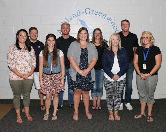 <p>NEW TEACHERS: Ashland-Greenwood Public Schools welcomed nine new teachers at the start of the school year. They are (front row, from left) Melissa Stewart, Taylor Ruzicka, Kristen Riggle, Jen Smith, Britteny McBride; (back row) Tyler Cogswell, Jake Nichelson, Kara Farewell and Jordan Wallman. (Staff Photo by Suzi Nelson)</p>