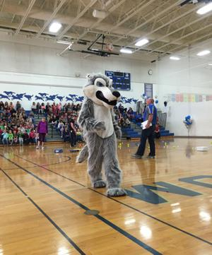The WHA Wolf at a school-wide pep fest.